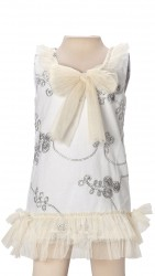BABY FASHIONISTAS EMROIDERY WITH BOW GIRL PARTY DRESS WHITE/ CREAM  image here
