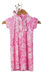 BABY FASHIONISTAS FLORAL WITH PUFF SLEEVES GIRL PARTY DRESS IN NEON PINK/WHITE image here