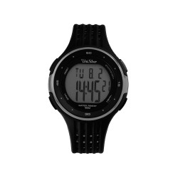 UNISILVER TIME STEP AHEAD MEN'S PEDOMETER DIGITAL RUBBER WATCH KW2130-1001 (BLACK/SILVER)   image here