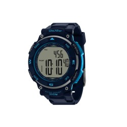 UNISILVER TIME STRIDE WELL MEN'S NAVY BLUE / LIGHT BLUE / SILVER PEDOMETER DIGITAL RUBBER WATCH KW1220-1103   image here