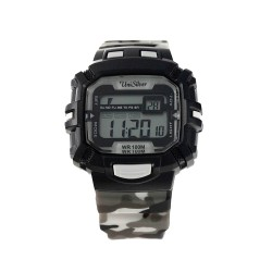 UNISILVER TIME ENZO PINEDA'S BATALLION DIGITAL RUBBER BLACK / GRAY CAMOUFLAGE WATCH KW2029-2001 image here