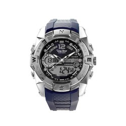 UNISILVER TIME POLYHEDRON ANALOG-DIGITAL RUBBER NAVY BLUE / SILVER CAMOUFLAGE WATCH KW2028-2001 image here