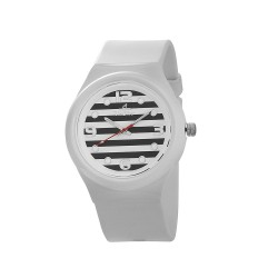 UNISILVER TIME UNISEX STRIPES `N DOTS ANALOG RUBBER WHITE / BLACK KW1074-2111 image here