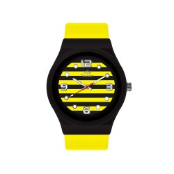 UNISILVER TIME UNISEX STRIPES `N DOTS ANALOG RUBBER YELLOW / BLACK WATCH KW1074-2112 image here