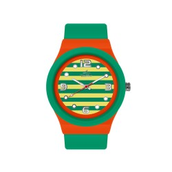 UNISILVER TIME UNISEX STRIPES `N DOTS ANALOG RUBBER GREEN/ORANGE/YELLOW WATCH KW1074-2113 image here