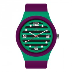 UNISILVER TIME UNISEX STRIPES `N DOTS ANALOG RUBBER PURPLE/GREEN/BLACK WATCH KW1074-2114 image here