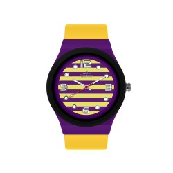 UNISILVER TIME UNISEX STRIPES `N DOTS ANALOG RUBBER YELLOW/PURPLE/BLACK WATCH KW1074-2115 image here
