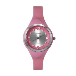 UNISILVER TIME LADIES' DIT-DOTS ANALOG RUBBER PINK WATCH KW2203-2003 image here
