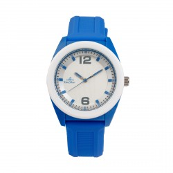 UNISILVER TIME UNISEX NEO POP ANALOG RUBBER BLUE / WHITE WATCH KW2187-1003 image here