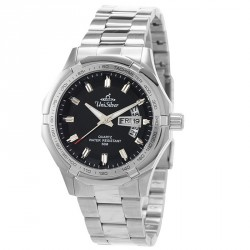 UNISILVER TIME MEN'S TRAXXION ANALOG STAINLESS STEEL BLACK / SILVER WATCH KW2211-1102 image here