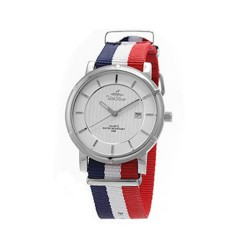 UNISILVER TIME UNISEX ZENTURIA NYLON STAINLESS STEEL BLUE/WHITE/RED WATCH KW2157-1101 image here