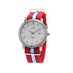 UNISILVER TIME UNISEX ZENTURIA NYLON STAINLESS STEEL RED/BLUE/WHITE WATCH KW2157-1108 image here