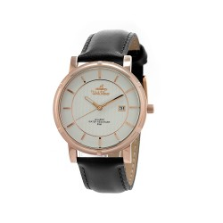 UNISILVER TIME UNISEX ZENTURIA BLACK LEATHER ROSE GOLD STAINLESS STEEL WATCH KW2157-1115 image here