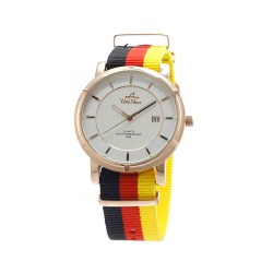 UNISILVER TIME UNISEX ZENTURIA NYLON ROSEGOLD STAINLESS STEEL BLACK/RED/YELLOW WATCH KW2157-1402 image here