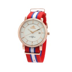 UNISILVER TIME UNISEX ZENTURIA NYLON ROSEGOLD STAINLESS STEEL RED/BLUE/WHITE WATCH KW2157-1408 image here