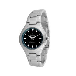UNISILVER TIME MEN'S SILVER / GLOSSY NAVY BLUE STAINLESS STEEL WATCH KW020-1103  image here