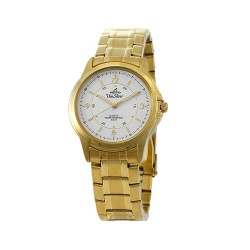 UNISILVER TIME ASTERIA PAIR MEN'S GOLD / WHITE ANALOG STAINLESS STEEL WATCH KW097-1204 image here