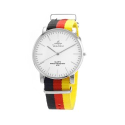 UNISILVER TIME UNISEX STYL-O-LOGY NYLON STAINLESS STEEL BLACK/RED/YELLOW WATCH KW2155-1102 image here