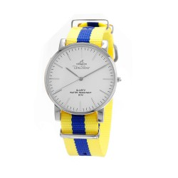 UNISILVER TIME UNISEX STYL-O-LOGY NYLON STAINLESS STEEL YELLOW / BLUE WATCH KW2155-1105 image here