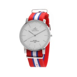 UNISILVER TIME UNISEX STYL-O-LOGY NYLON STAINLESS STEEL RED/BLUE/WHITE WATCH KW2155-1108 image here