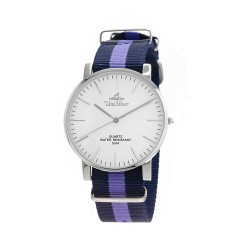 UNISILVER TIME UNISEX STYL-O-LOGY NYLON STAINLESS STEEL NAVY/LAVENDER WATCH KW2155-1112 image here