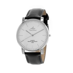 UNISILVER TIME UNISEX STYL-O-LOGY LEATHER STAINLESS STEEL BLACK / WHITE WATCH KW2155-1115 image here