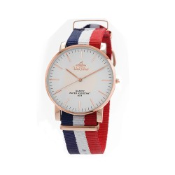 UNISILVER TIME UNISEX STYL-O-LOGY NYLON ROSE GOLD STAINLESS STEEL NAVY/WHITE/RED WATCH KW2155-1401 image here