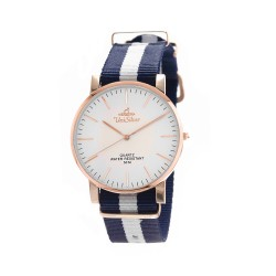 UNISILVER TIME UNISEX STYL-O-LOGY NYLON ROSE GOLD STAINLESS STEEL NAVY / WHITE WATCH KW2155-1403 image here
