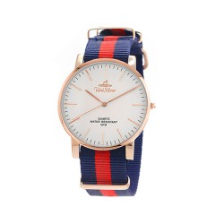 UNISILVER TIME UNISEX STYL-O-LOGY NYLON ROSE GOLD STAINLESS STEEL NAVY / RED WATCH KW2155-1404 image here