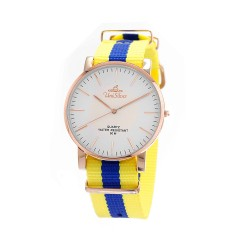 UNISILVER TIME UNISEX STYL-O-LOGY NYLON ROSE GOLD STAINLESS STEEL YELLOW / BLUE WATCH KW2155-1405 image here