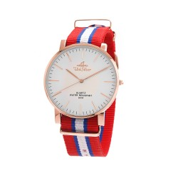 UNISILVER TIME UNISEX STYL-O-LOGY NYLON ROSE GOLD STAINLESS STEEL RED/BLUE/WHITE WATCH KW2155-1408 image here