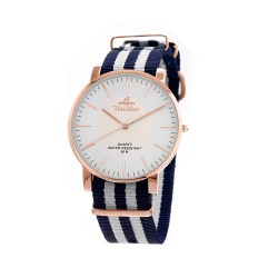 UNISILVER TIME UNISEX STYL-O-LOGY NYLON ROSE GOLD STAINLESS STEEL NAVY / WHITE WATCH KW2155-1409 image here
