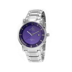 UNISILVER TIME MEN'S VANTEDGE-LINEAR PAIR ANALOG STAINLESS STEEL SILVER / BLUE WATCH KW1957-1103 image here