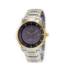 UNISILVER TIME MEN'S VANTEDGE-LINEAR PAIR ANALOG STAINLESS STEEL TWO-TONE / BLACK WATCH KW1957-1305 image here