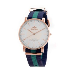UNISILVER TIME UNISEX STYL-O-LOGY NYLON ROSE GOLD STAINLESS STEEL NAVY / GREEN WATCH KW2155-1410 image here