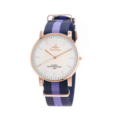 UNISILVER TIME UNISEX STYL-O-LOGY NYLON ROSE GOLD STAINLESS STEEL NAVY / LAVENDER WATCH KW2155-1412 image here