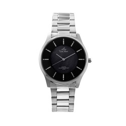 UNISILVER TIME MEN'S  TRAVELLO PAIR ANALOG STAINLESS STEEL SILVER / BLACK MOTHER-OF-PEARL KW2164-1102 image here
