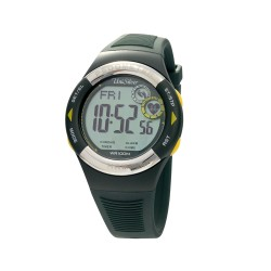 UNISILVER TIME UNISEX RHYTHMATE PEDOMETER HEART RATE MONITOR RUBBER DARK GREEN / YELLOW KW2168-1002 image here