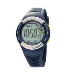 UNISILVER TIME UNISEX RHYTHMATE PEDOMETER HEART RATE MONITOR RUBBER DARK BLUE / YELLOW GREEN KW2168-1003 image here