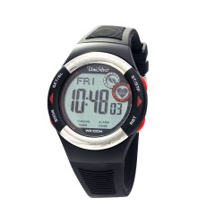 UNISILVER TIME UNISEX RHYTHMATE PEDOMETER HEART RATE MONITOR RUBBER BLACK / RED KW2168-1004 image here
