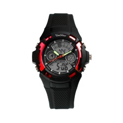 UNISILVER TIME MEN'S BUCKY ANALOG-DIGITAL RUBBER BLACK / RED KW2219-1001 WATCH image here