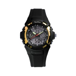 UNISILVER TIME MEN'S BUCKY ANALOG-DIGITAL RUBBER BLACK / GOLD KW2219-1004 WATCH image here