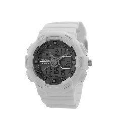 """UNISILVER TIME UNISEX """"DEERE"""" ANALOG-DIGITAL RUBBER WHITE / GRAY KW1945-1003 WATCH image here"""