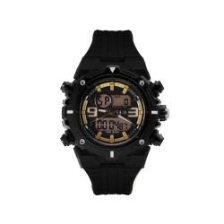 HEA CASEY MARTINEZ'S CYCLONE UNISEX BLACK/GOLD RUBBER WATCH KHA1946-1004   image here