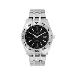 MOA NAVINATOR MEN'S SILVER / BLACK ANALOG STAINLESS STEEL WATCH KM898-1102   image here