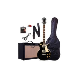 LES PAUL SET NECK WITH 15 WATTS AMP PACKAGE ELECTRIC GUITAR (BLACK)   image here