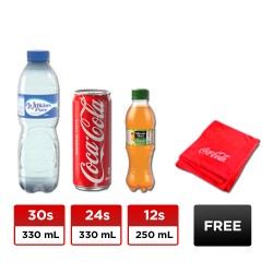 30 BOTTLES WILKINS PURE 330ML +12 BOTTLES MINUTE MAID FRESH 250ML+ 24 CANS COKE REGULAR 330ML + FREE BLANKET image here