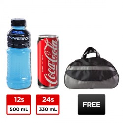 24 CANS COKE ZERO 330ML + 12 BOTTLES POWERADE 500ML + FREE GYM BAG BUNDLE image here