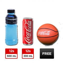 12 CANS COKE REGULAR 330ML + 12 BOTTLES POWERADE 500ML + FREE BASKETBALL BUNDLE image here
