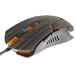 2400 DPI Adjustable Lighted Gaming Mouse - Black/Orange image here